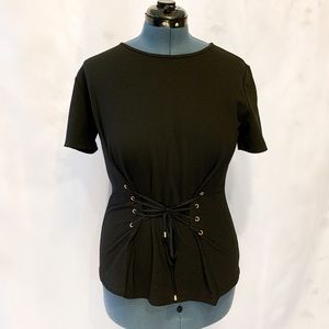 Black Ellen Tracy Top with Lace Up Front